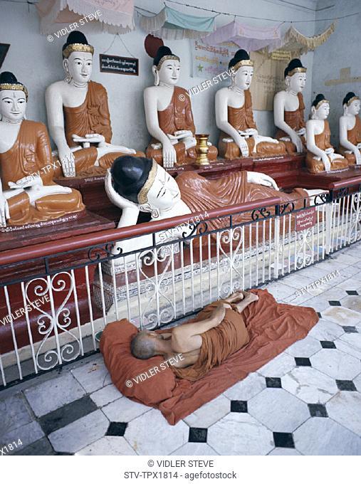 Buddha, Burma, Asia, Holiday, Landmark, Monk, Myanmar, Shwedagon pagoda, Sleeping, Statues, Tourism, Travel, Vacation, Yangon