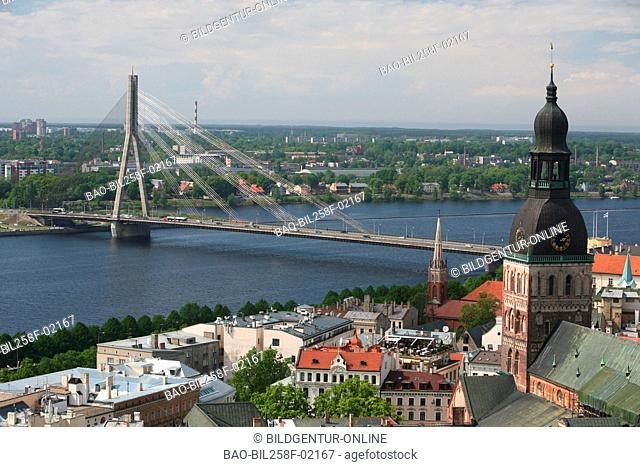 The Old Town with the Vansu to bridge and the cathedral as well as the river Daugava from view of the view patio of the socialist high rise academy of the...