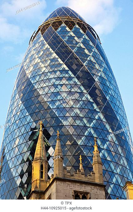 UK, United Kingdom, Great Britain, Britain, England, London, The City, The Gherkin, Swiss Re, St. Andrew Undershaft Church, Church, Churches