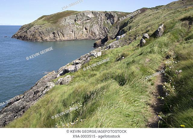 Cliffs and Footpath at Llanbadrig; Cemaes; Anglesey; Wales; UK
