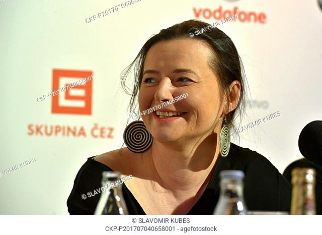 Actress Jowita Budnik presents Polish film Birds Are Singing in Kigali during the 52nd International Film Festival in Karlovy Vary, Czech Republic, on July 4