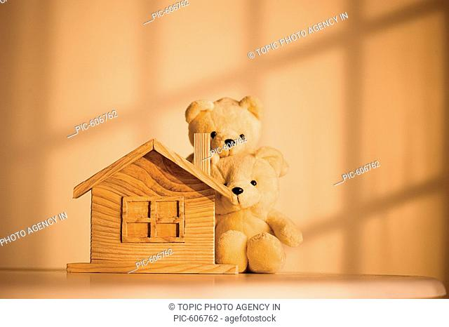 Toy House And Stuffed Bears