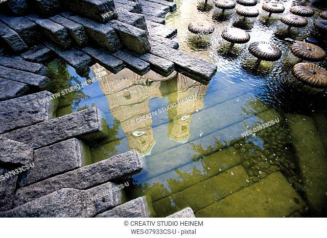 Germany, Bavaria, Munich, water reflection of church
