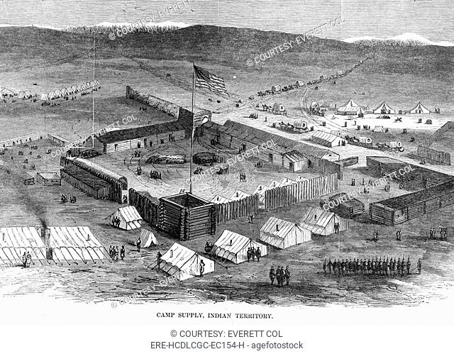 Camp Supply, Indian territory. Military stockade near Beaver River and Wolf Creek north fork of Canadian River, Utah. Engraving in Harper's Weekly, 1869