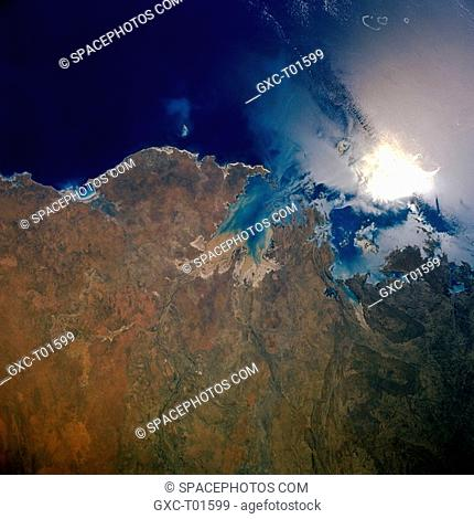 The two larger bays shown in this section of the north coast of Western Australia are King Sound and Collier Bay. Buccaneer Archipelago extends northwestward...