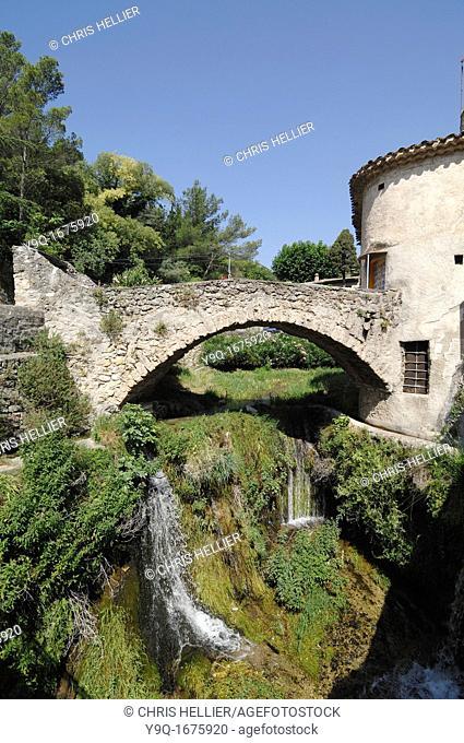 Medieval House and Bridge over Verdus River Saint-Guilhem-le-Desert Village Hérault France