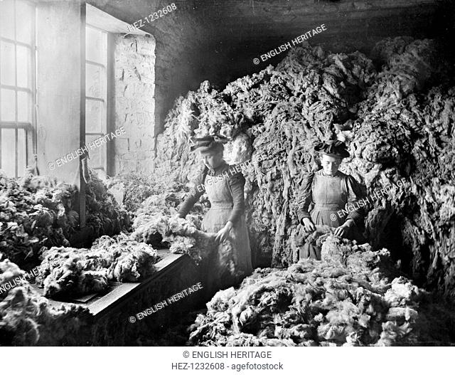 Early Blanket Factory, Witney, Oxfordshire, 1860-1922. Women sorting wool in the blanket factory. The Witney Blanket Company was incorporated in 1710