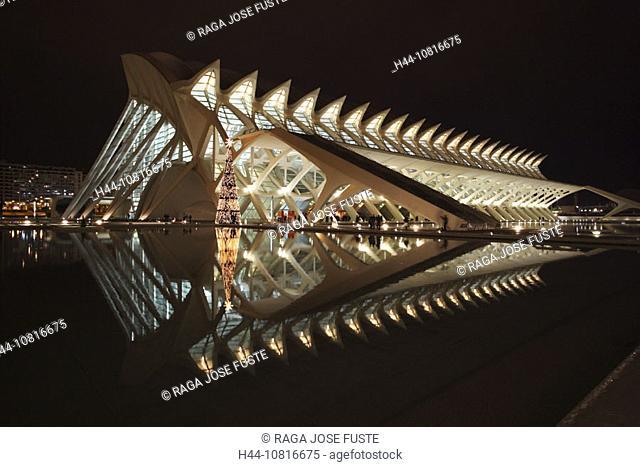Felipe, museum, at night, night, Spain, Europe, Valencia, city of Arts and Sciences built by Calatrava read Ciencias P