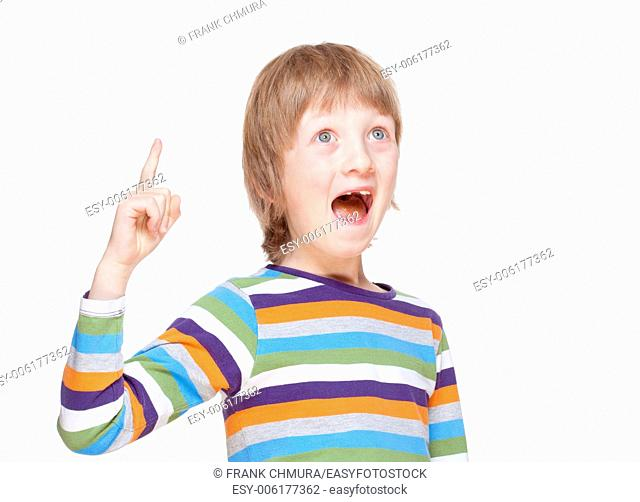 Boy Points up his Finger, Has an Idea - Isolated on White