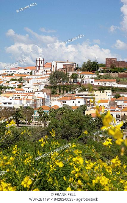 Portugal, Algarve, Silves, View of Cathedral, Castle & Town