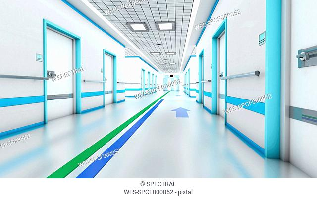 3D Rendering, Architectural visualization of a modern hospital