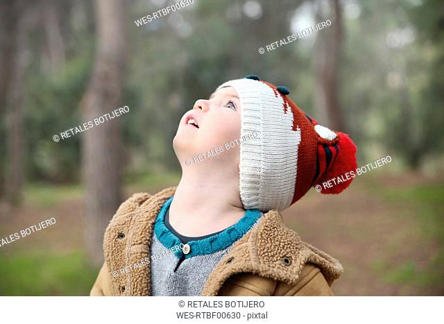 Boy wearing wooly hat in forest looking up