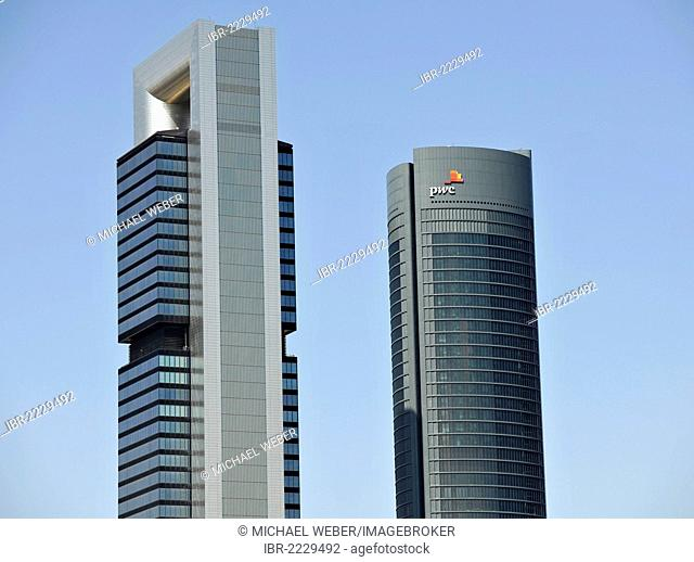 Cuatro Torres Business Area, formerly the Madrid Arena, with four skyscrapers, here Torre Caja Madrid, formerly the Repsol Tower, Torre PwC