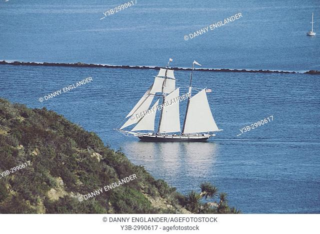 The schooner Californian sailing off the point of Cabrillo National Monument, San Diego, California