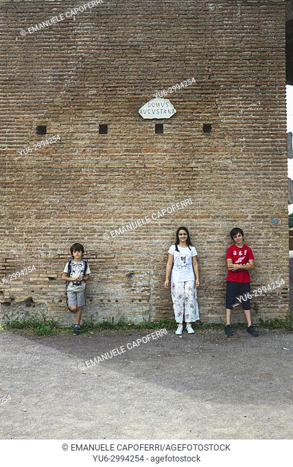 Children visiting Trajan's Forum, Rome, Italy
