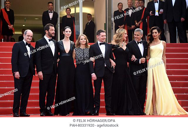 (L-R) Cannes Festival President Pierre Lescure, British actor Dominic West, Irish actress Caitriona Balfe, US director Jodie Foster