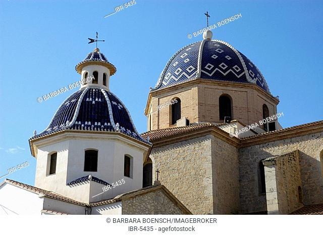 Blue dome of the church Virgen del Consuelo, Altea, Costa Blanca, Spain, azulejos
