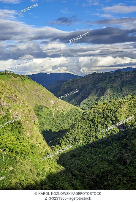 Magdalena River Valley seen from La Chaquira, San Agustin, Huila Department, Colombia