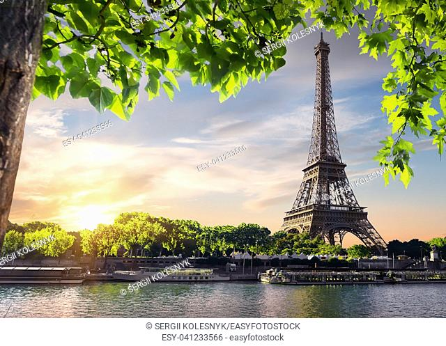 Sunset over Paris with the view on Eiffel Tower and river Seine, France