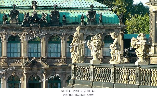 Zwinger in the historical town centre of Dresden, Germany