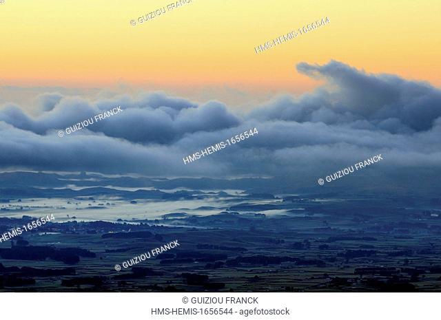 New Zealand, North Island, Egmont National Park, panorama from the Mount Taranaki before sunrise