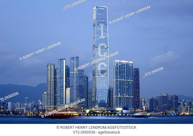 The new Kowloon skyline and Hong Kong's tallest building, The International Commerce Center ICC, Hong Kong, China