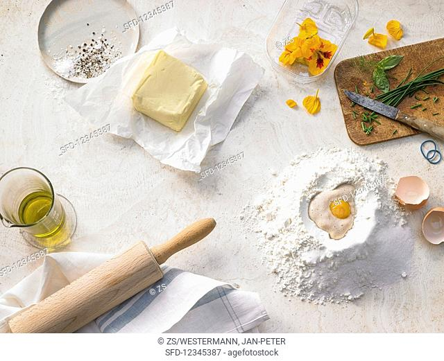 Basic ingredients for baking bread