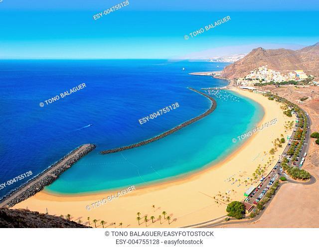 Beach Las Teresitas in Santa cruz de Tenerife north at Canary Islands