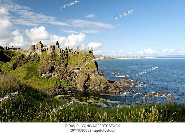 Dunluce Castle, mediaeval ruin between Portrush and Bushmills on North Antrim Coast Road, County Antrim, Northern Ireland