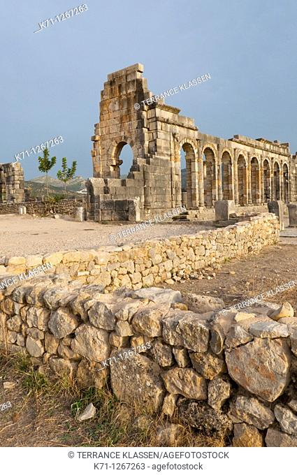 The Basilica at the Volubilis archeological site near Moulay Idriss, Morocco