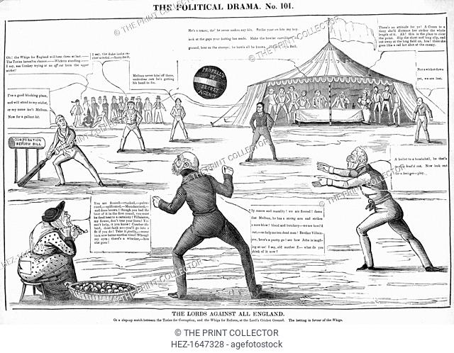 'The Lords against all England, The political drama', 19th century. Or a slap-up match between the Tories for curruption, and the Whigs for Reform