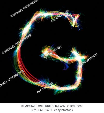 Digitally created letter formed out of plasma energy