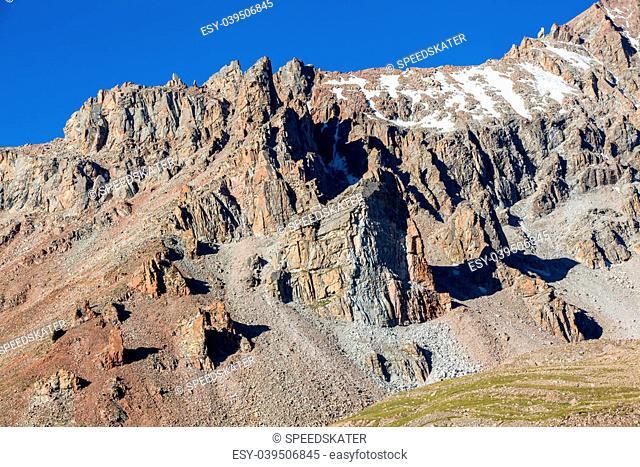 Sharp rocks in Tien Shan mountains. Kyrgyzstan