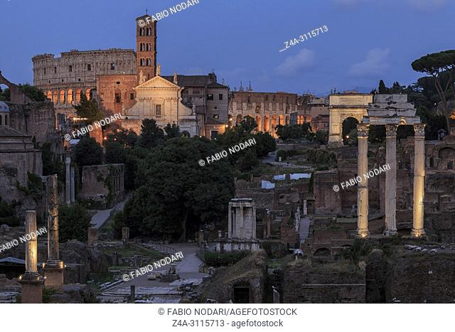 Sunset over Forum Romanum (Fori Romani) ancient site of antique city of Rome near Palatino hill