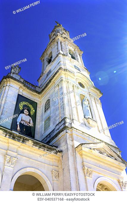 100th Cellebration Mary's Appearance Basilica of Lady of Rosary Bell Tower Fatima Portugal. Church created on site where three Portuguese Shepherd children saw...