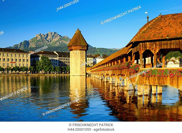 Chapel bridge with Pilatus, Lucerne, Switzerland