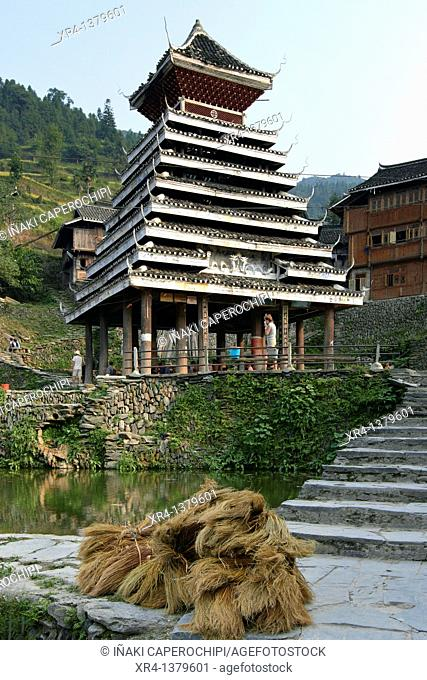 Drum Tower, Tang an Dong Village, Tang an, Guizhou, China