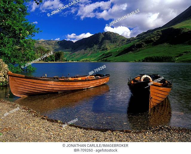 Boats at Buttermere, Lake District, Cumbria, United Kingdom, Europe