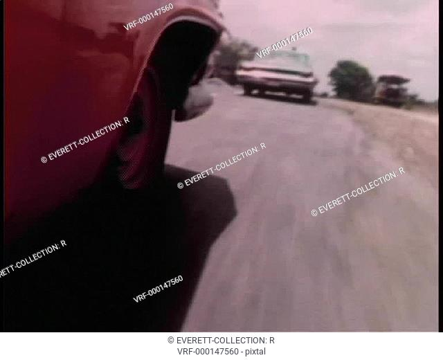 Rear view of car chase