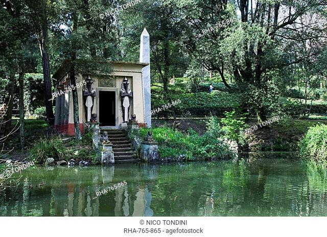 Egyptian temple, Giardino Stibbert, Florence Firenze, UNESCO World Heritage Site, Tuscany, Italy, Europe