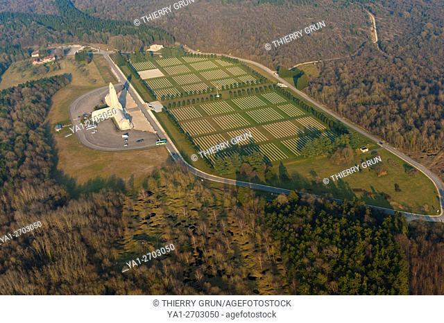 France, Meuse (55), Verdun, WWI battle fields, Douaumont, ossuary (aerial view)