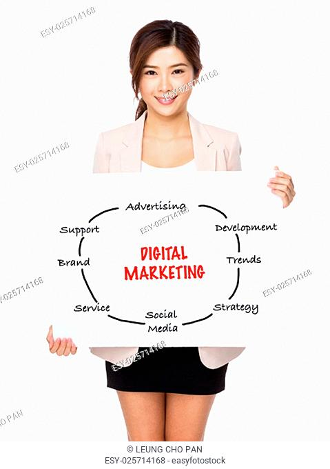 Young businesswoman holding a poster showing with digital marketing concept