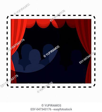 theater courtain show icon vector illustration design