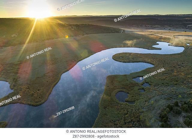 Reserva Natural Laguna Ojos de Villaverde, aerial view. Sierra de Alcaraz. Robledo. Albacete Province. Spain