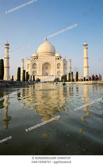 Taj Mahal, Agra, Uttar Pradesh, mausoleum, Asia, minaret, park, pond