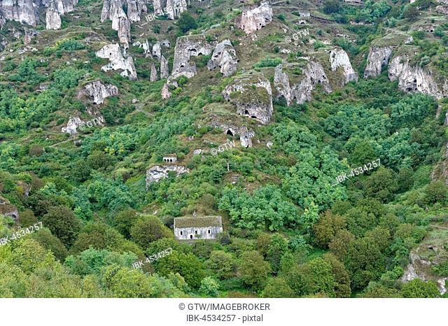 Cave dwellings in the steep mountain village of Khndzoresk, Syunik Province, Armenia
