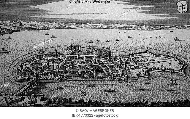Lindau on Lake Constance, Germany, in the 17th century, historical steel engraving