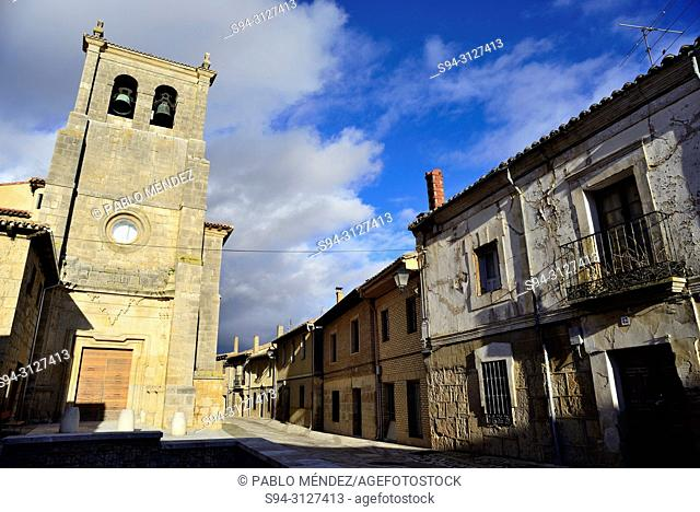 Square and church of Santo Domingo, Castrojeriz, Burgos, Spain