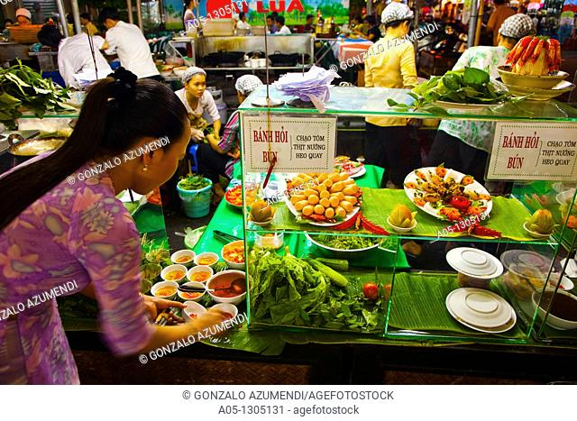 Night Restaurants around Ben THanh Market. Ho Chi Minh City (formerly Saigon). South Vietnam