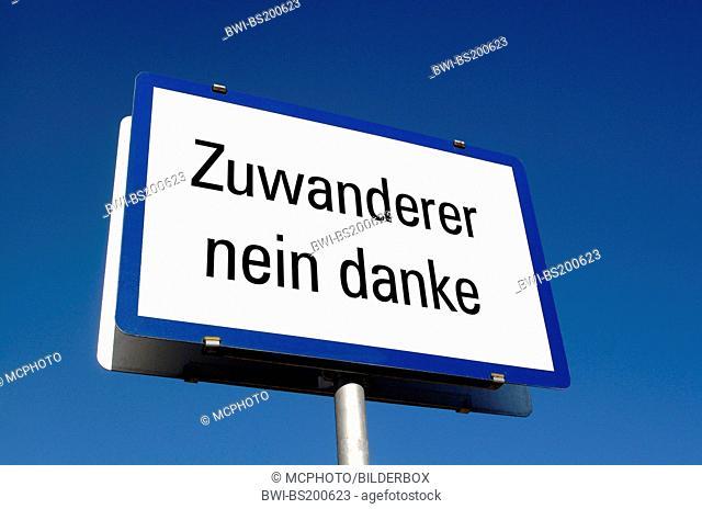 'immigrants no way' sign, Austria